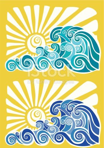 Motif with sunset in. Clipart waves wave hawaiian