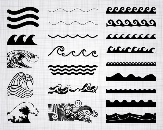Wave svg bundle cut. Waves clipart silhouette