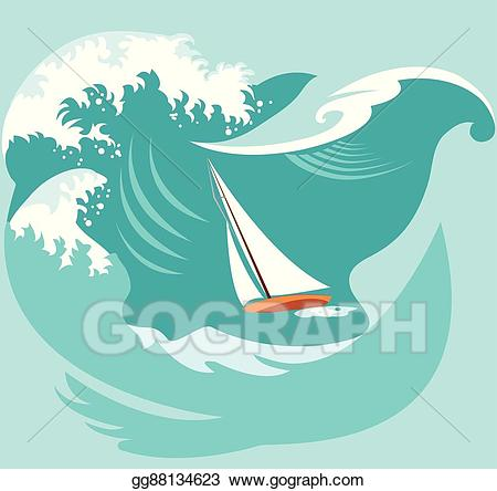 Vector art a in. Waves clipart boat