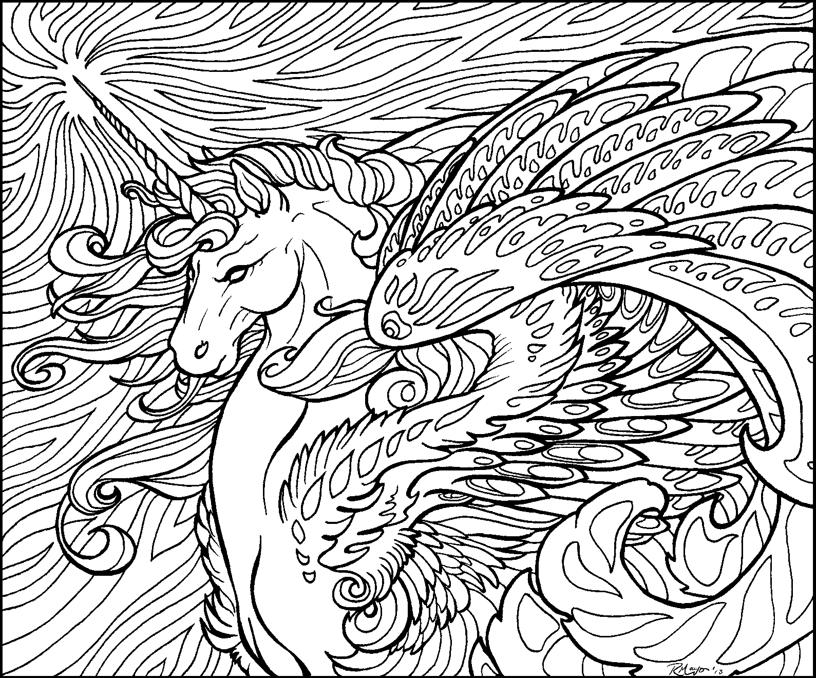 Star Wave Unicorn lineart by rachaelm