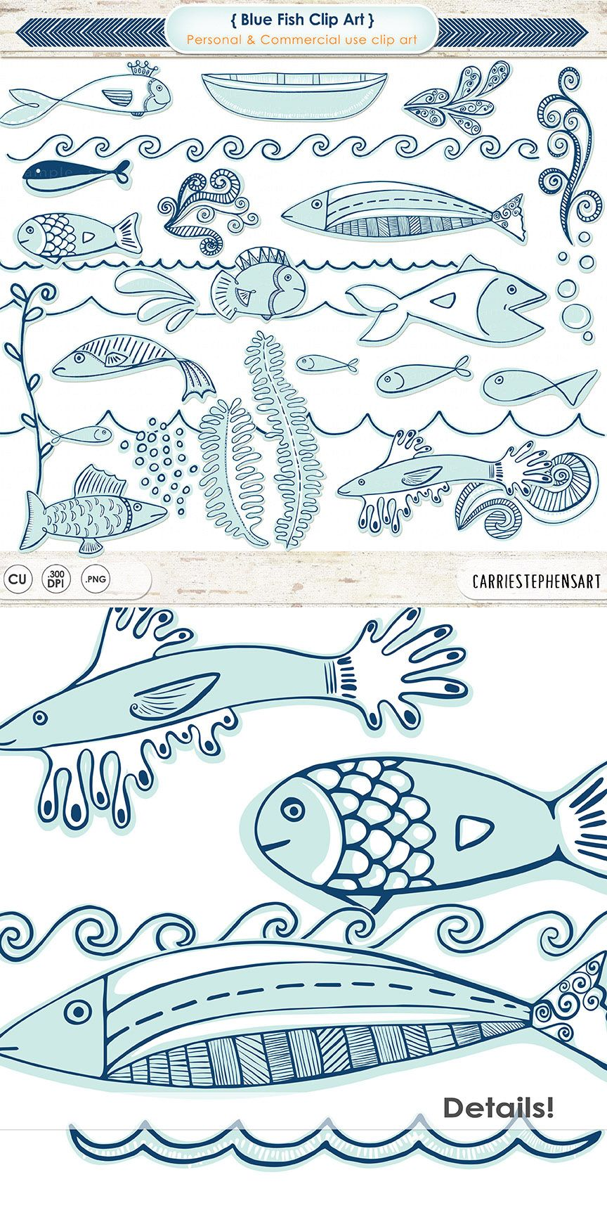 Clipart waves cute. Blue fish nautical clip