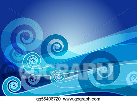 Clipart waves dark blue. Vector card with