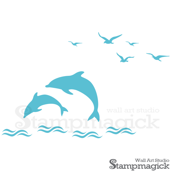 Dolphins wall decal for. Clipart waves dolphin