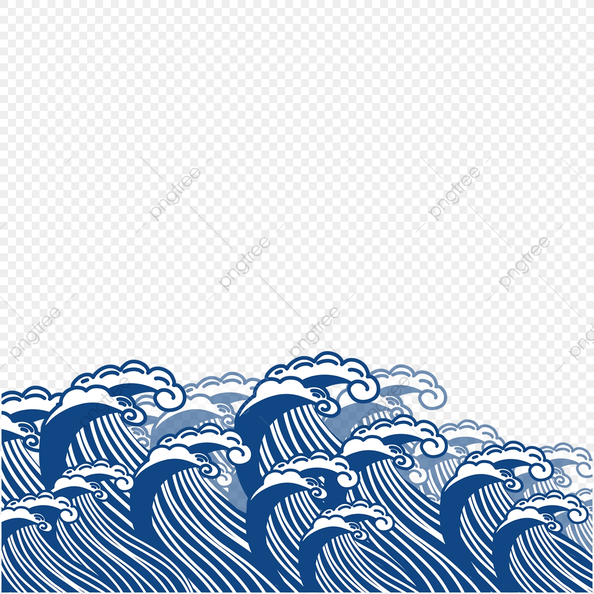 Blue hand painted maps. Waves clipart flood