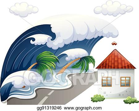 Clipart waves huge wave. Vector illustration tsunami scene