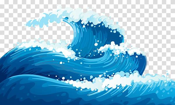 Blue sea transparent background. Clipart waves illustration