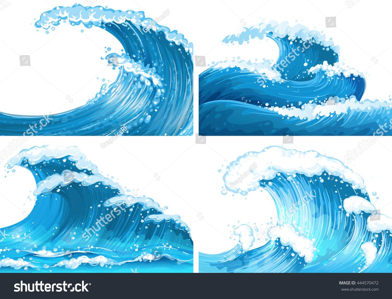 Clipart waves illustration. Four scenes of ocean