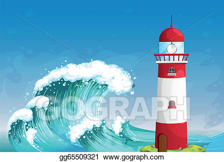Waves clipart lighthouse. Vector art a in