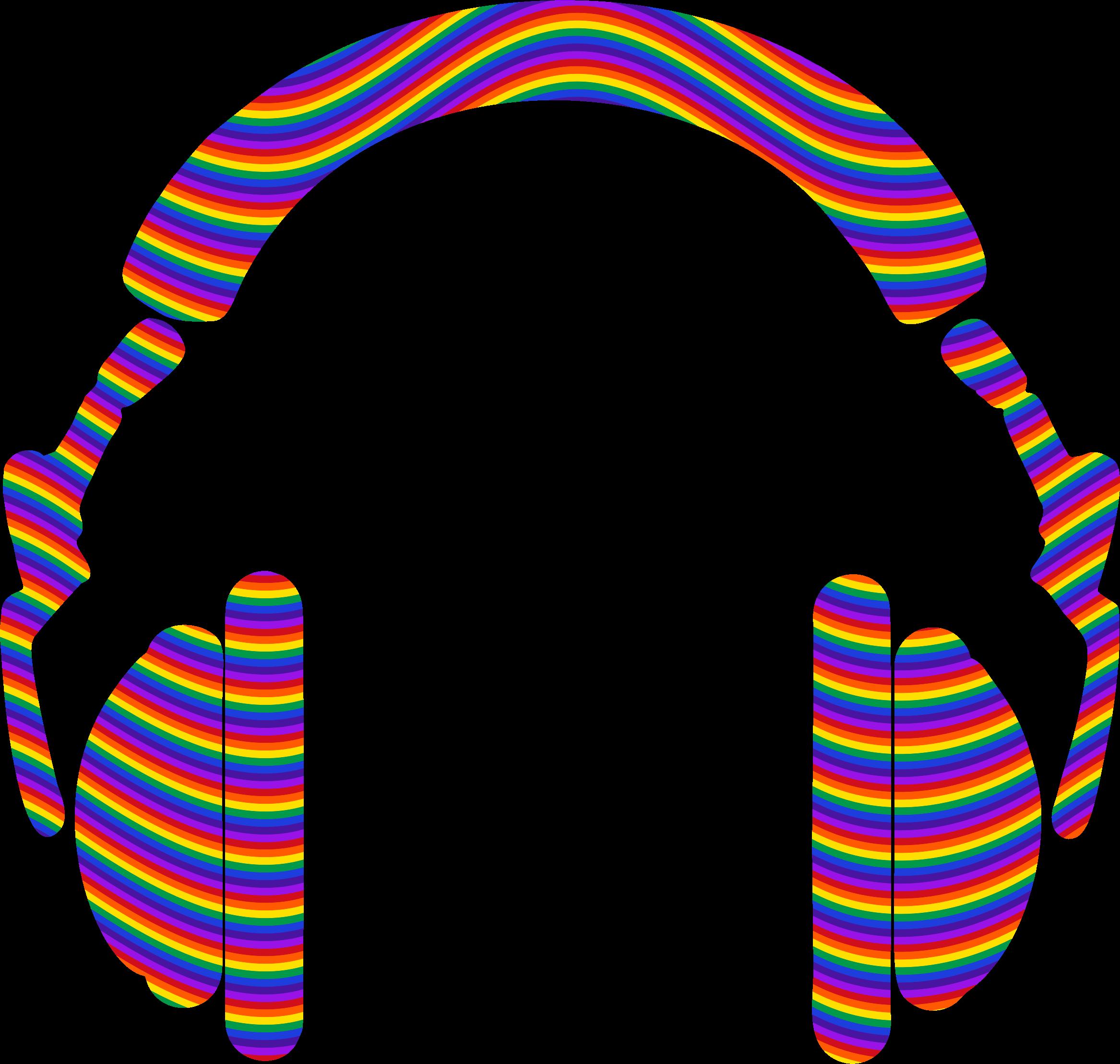 Headphones big image png. Waves clipart rainbow
