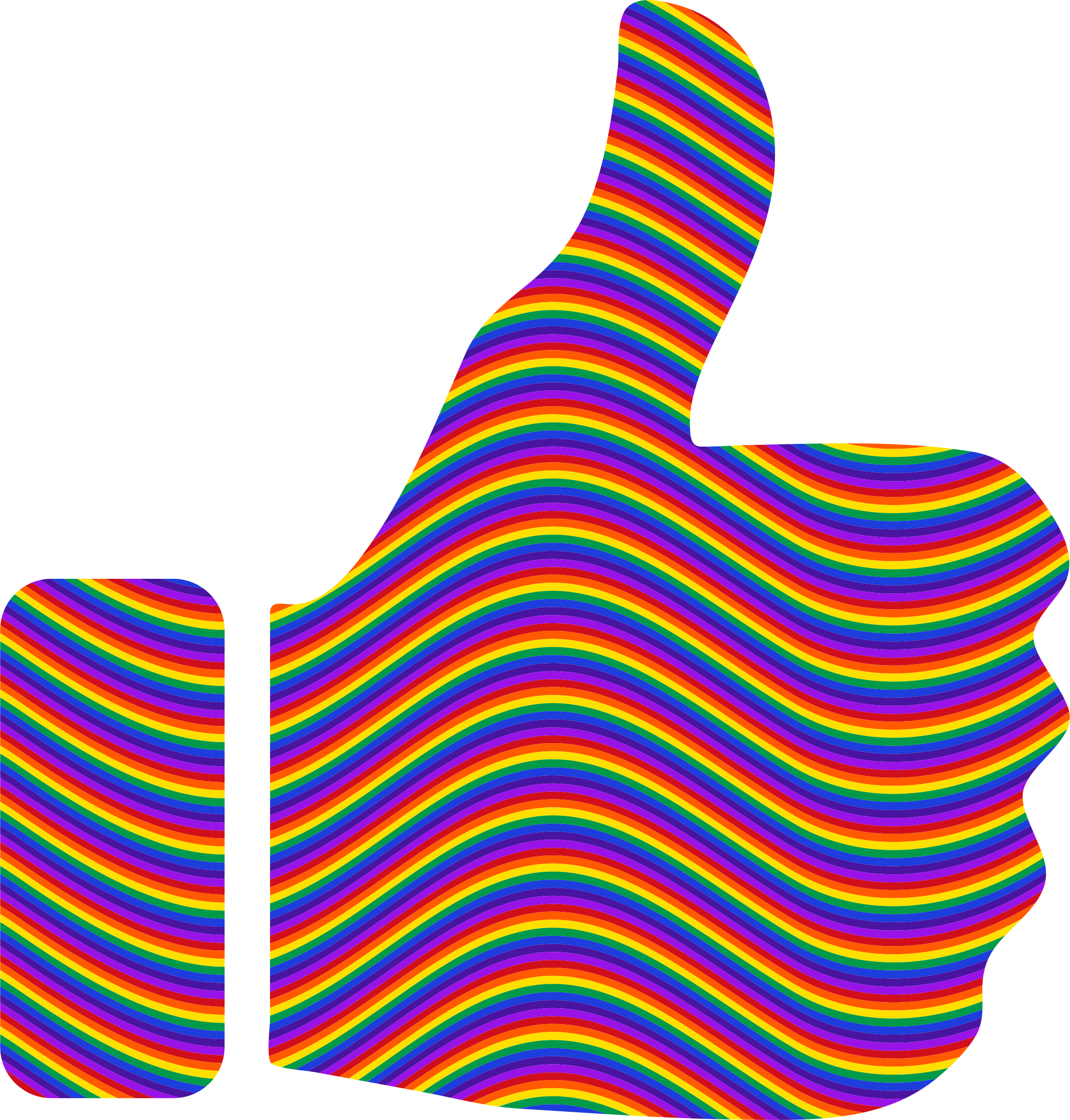 Thumbs up big image. Waves clipart rainbow