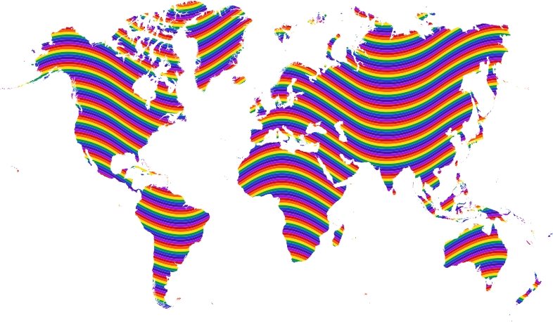 World map medium image. Waves clipart rainbow