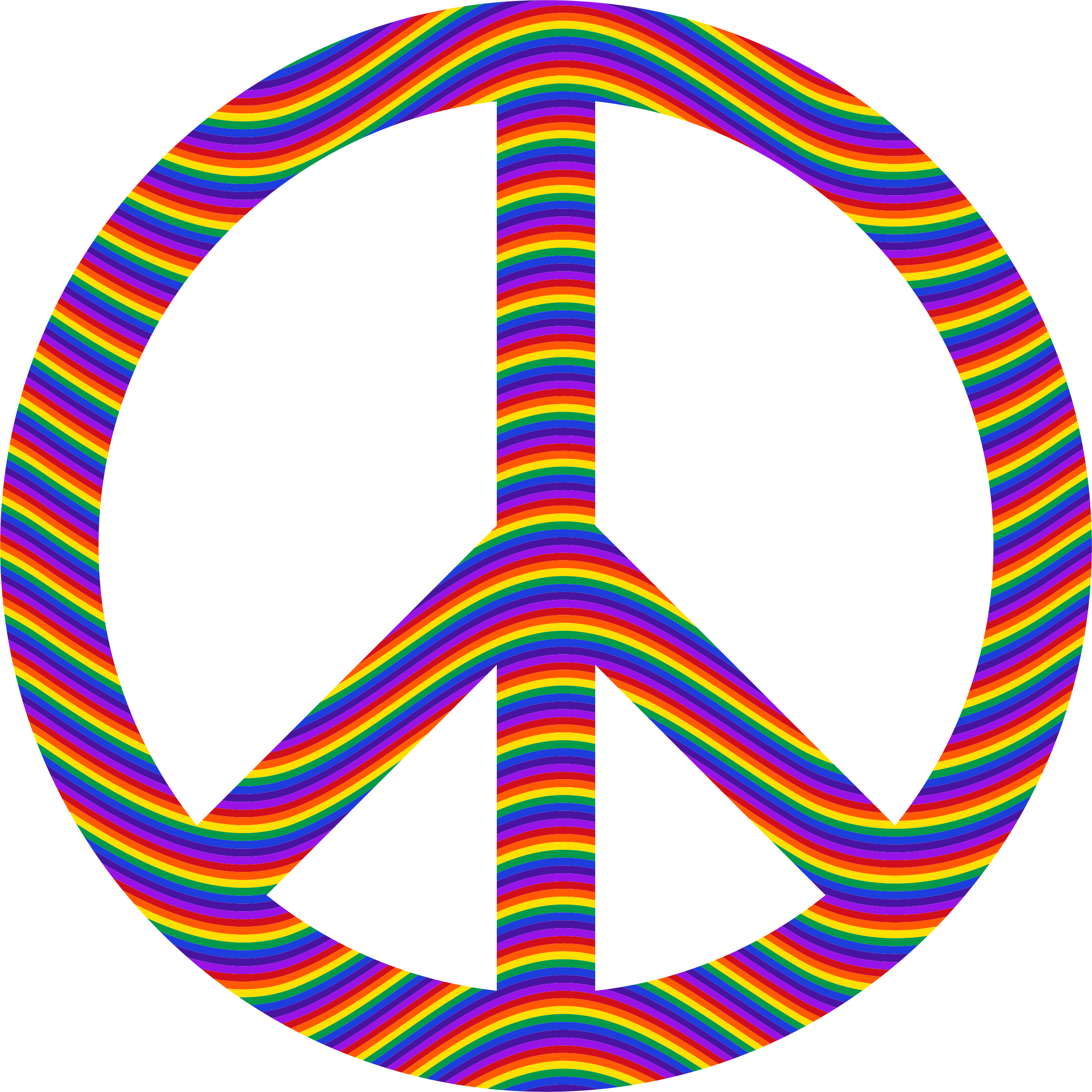 Peace sign big image. Waves clipart rainbow