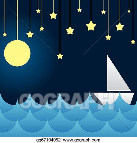 Vector boat at sea. Clipart waves star