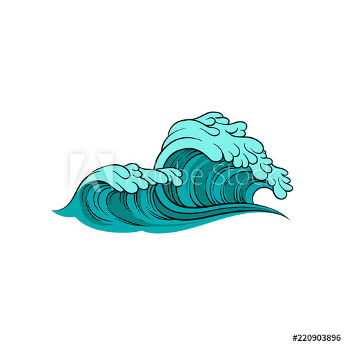 Clipart waves stormy sea. Vector illustration of wave