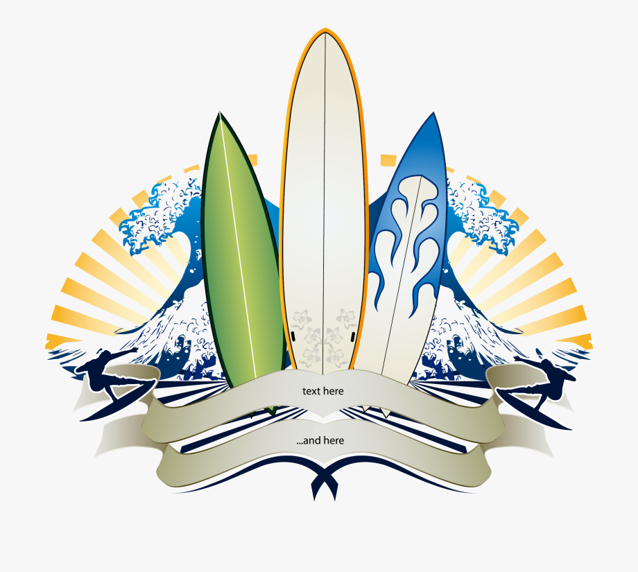 Big wave surfing banner. Waves clipart surfboard