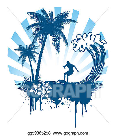Vector palm and on. Waves clipart surfing