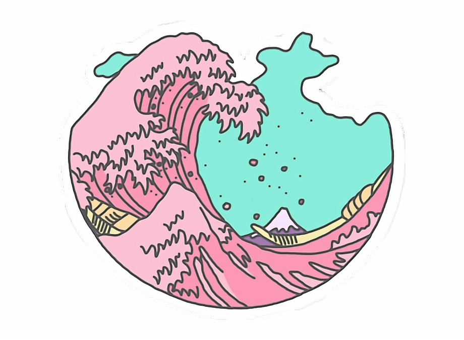 Sticker rosa olas mar. Clipart waves transparent tumblr