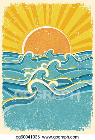 Waves clipart vintage. Vector art sea and
