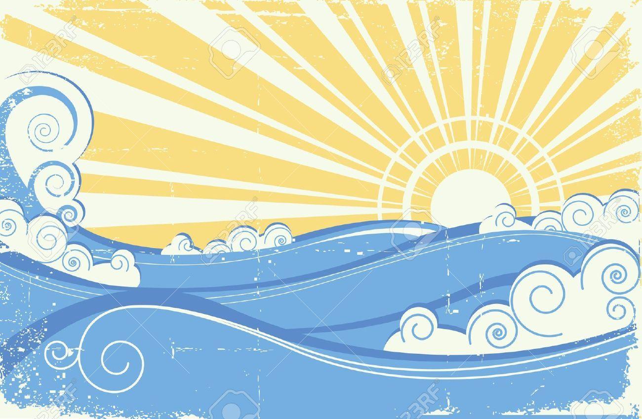 Waves clipart vintage. Stock vector sun art