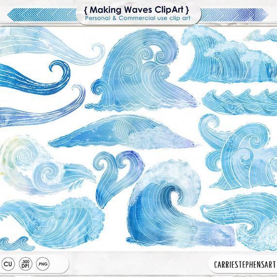 Blue watercolor water ocean. Clipart waves wave hawaii