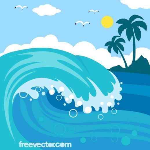 Clipart waves wave hawaiian. Cartoon ocean vector big
