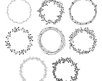 Etsy wreath hand drawn. Clipart wedding