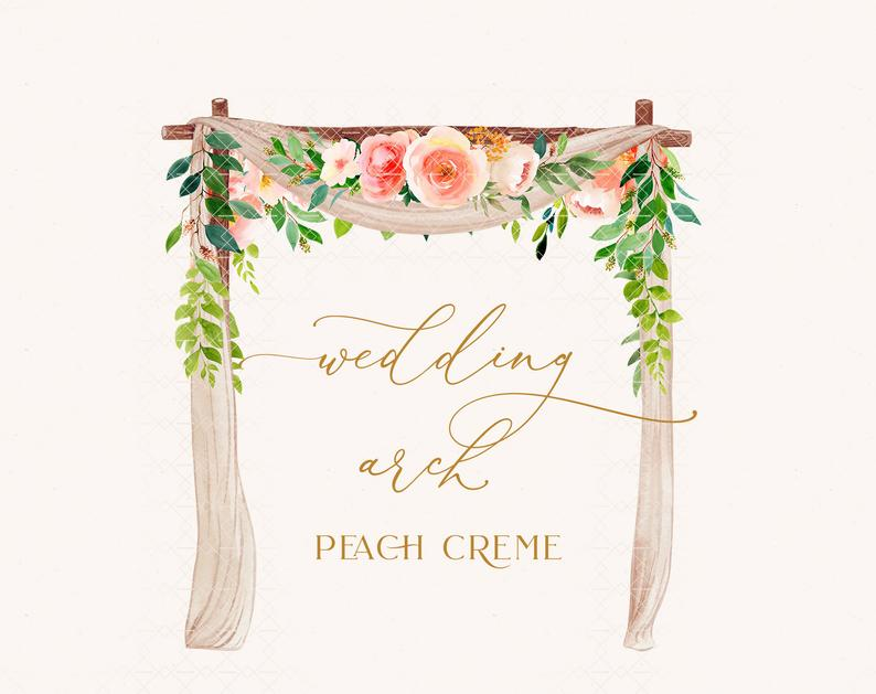 Clipart wedding archway. Arch watercolor flower frame