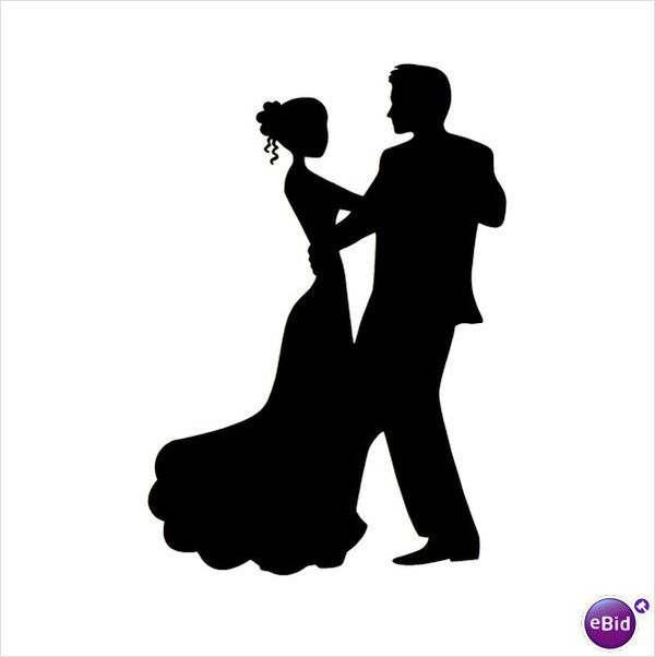 Dancing couple silhouettes silhouette. Dancer clipart wedding