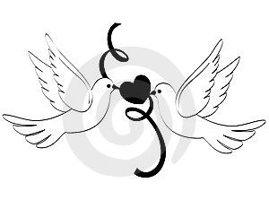 Wedding doves of love. Marriage clipart dove