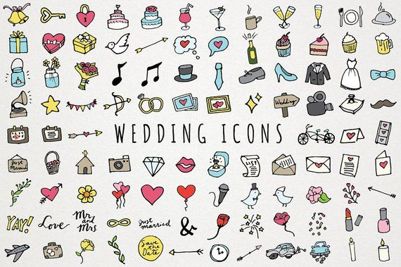 Clipart wedding element. Icons hand drawn clip
