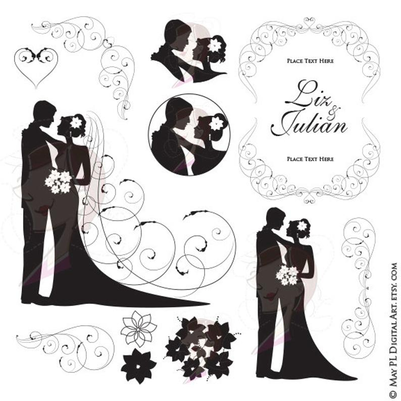 Clipart wedding groom. Bride silhouette and illustration