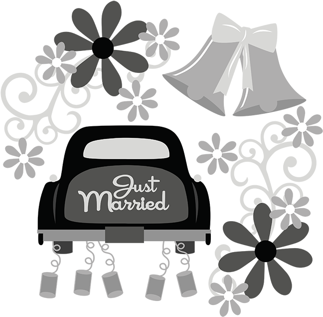 Words clipart wedding. Just married svg file