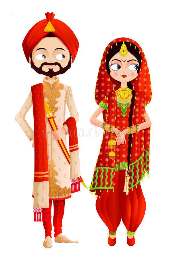 Free wedding invitation video. Couple clipart sikh