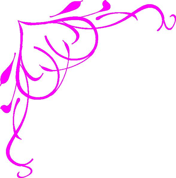 Pink heart border clip. Filigree clipart wedding