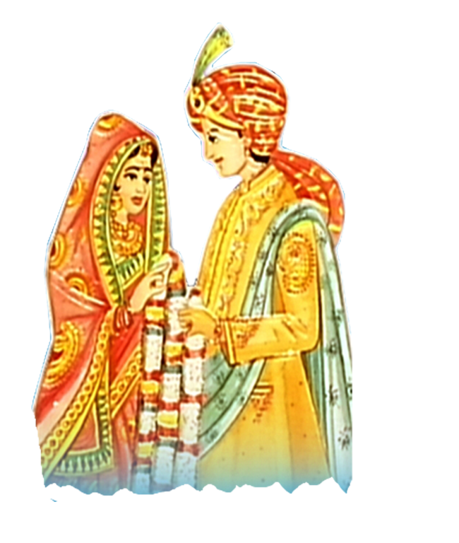 Indian bride and groom. Clipart wedding priest