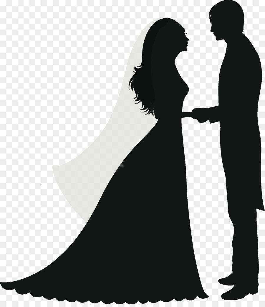 Clipart wedding silhouette. Bride and groom cartoon