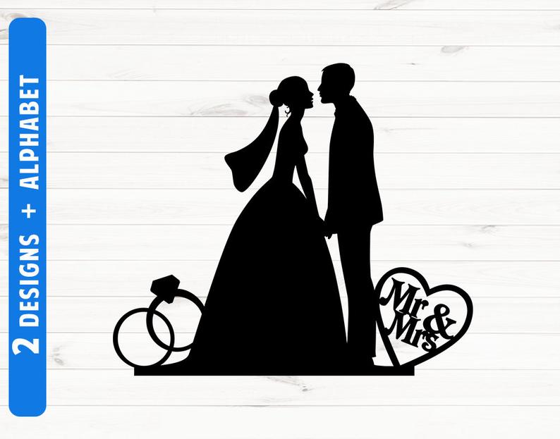 Cake topper weddong svg. Clipart wedding silhouette
