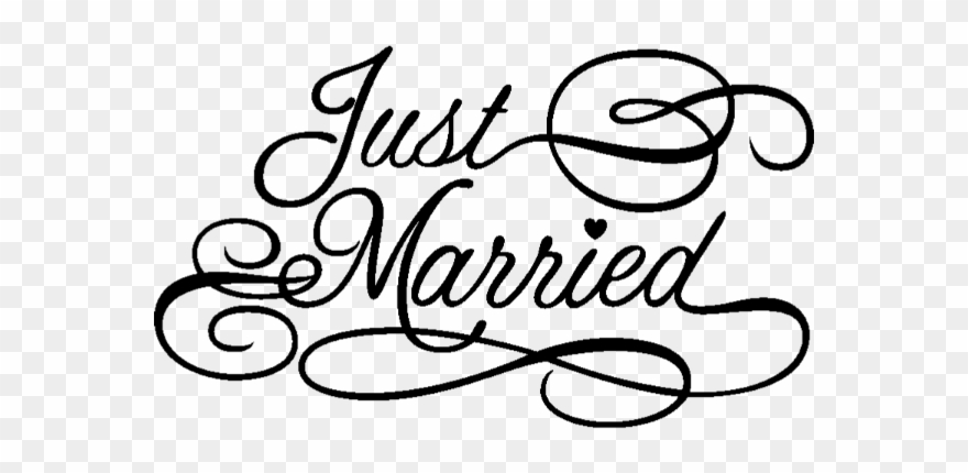 Justmarried sticker love png. Clipart wedding text