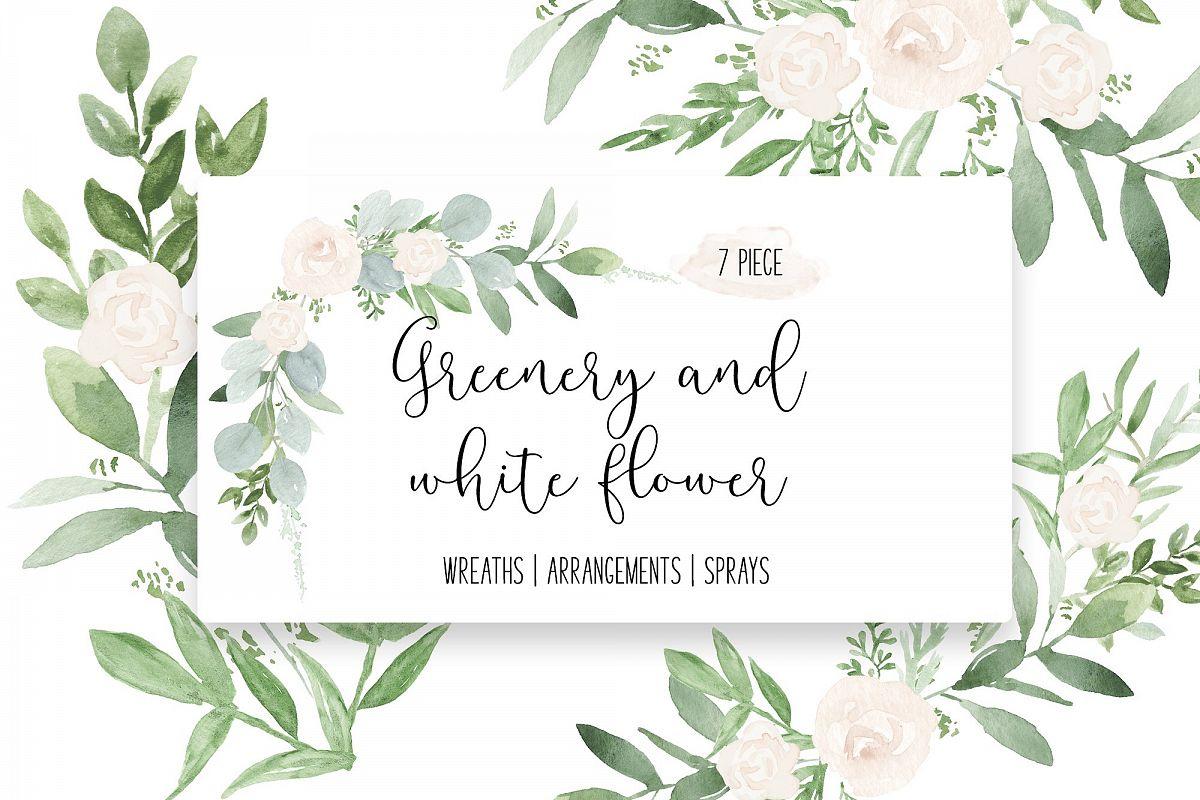 White flower wedding watercolor. Corner clipart greenery
