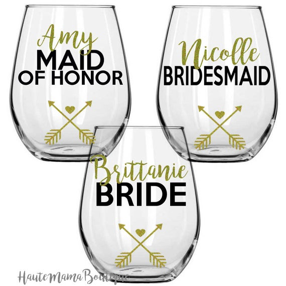Bridal party glasses bride. Clipart wedding wine glass