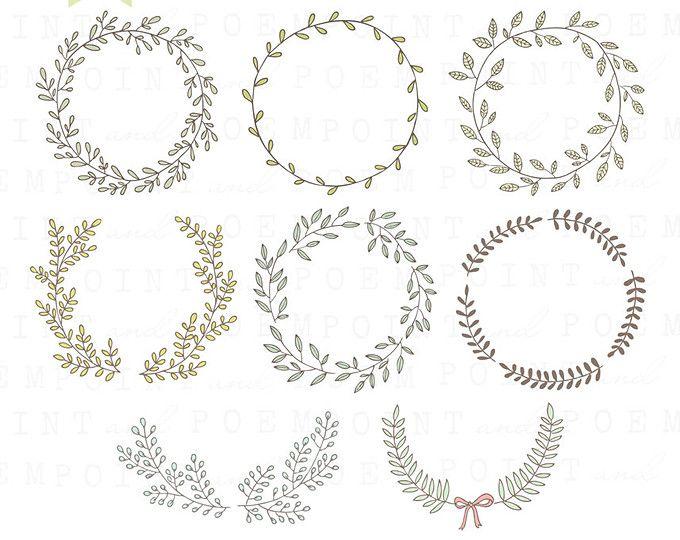Laurel clipart wedding. Hand drawn wreath clip
