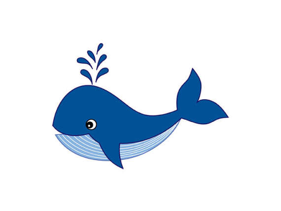 Digital vector sea ocean. Clipart whale