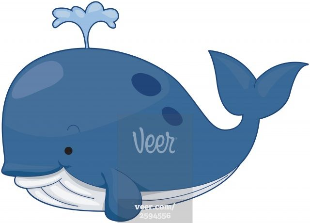 Cute stock illustration ink. Clipart whale cartoon character