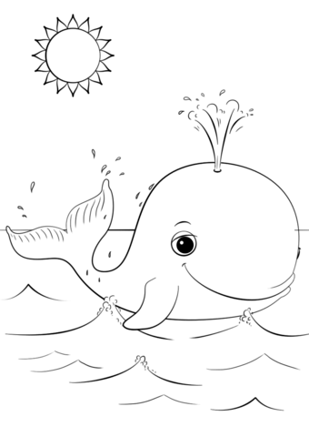 Cute cartoon coloring free. Clipart whale colouring page