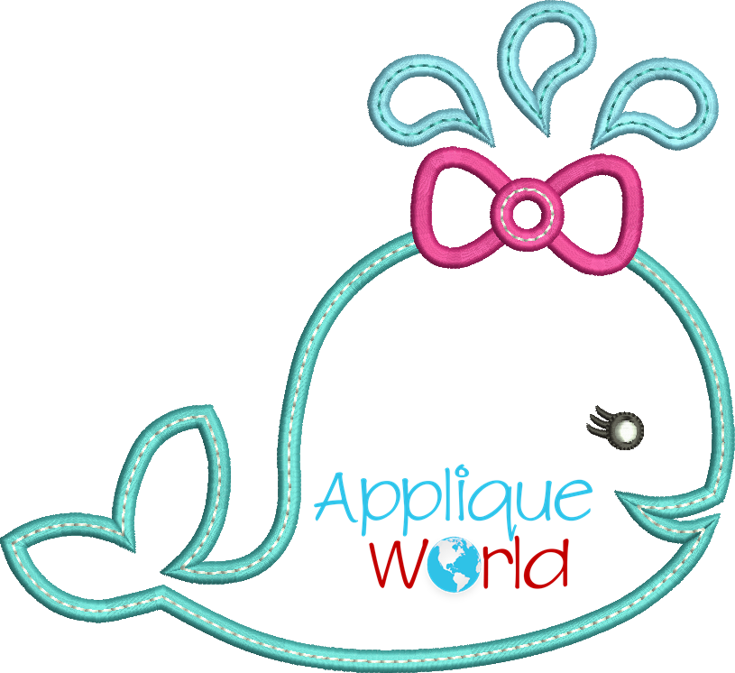 Girly clipart whale. Applique embroidery