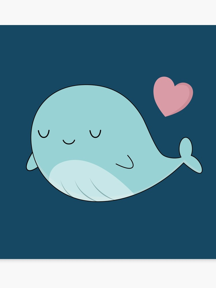 Cute blue canvas print. Clipart whale kawaii