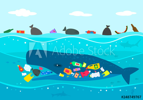 Ecological disaster of plastic. Clipart whale marine ecosystem