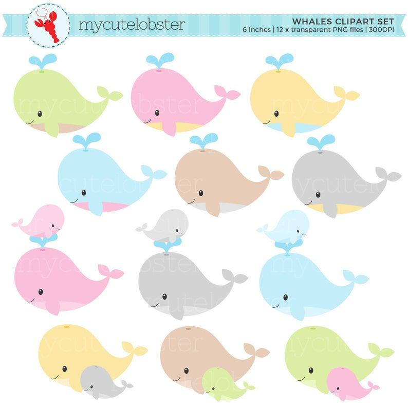 Clipart whale pastel. Whales set clip art