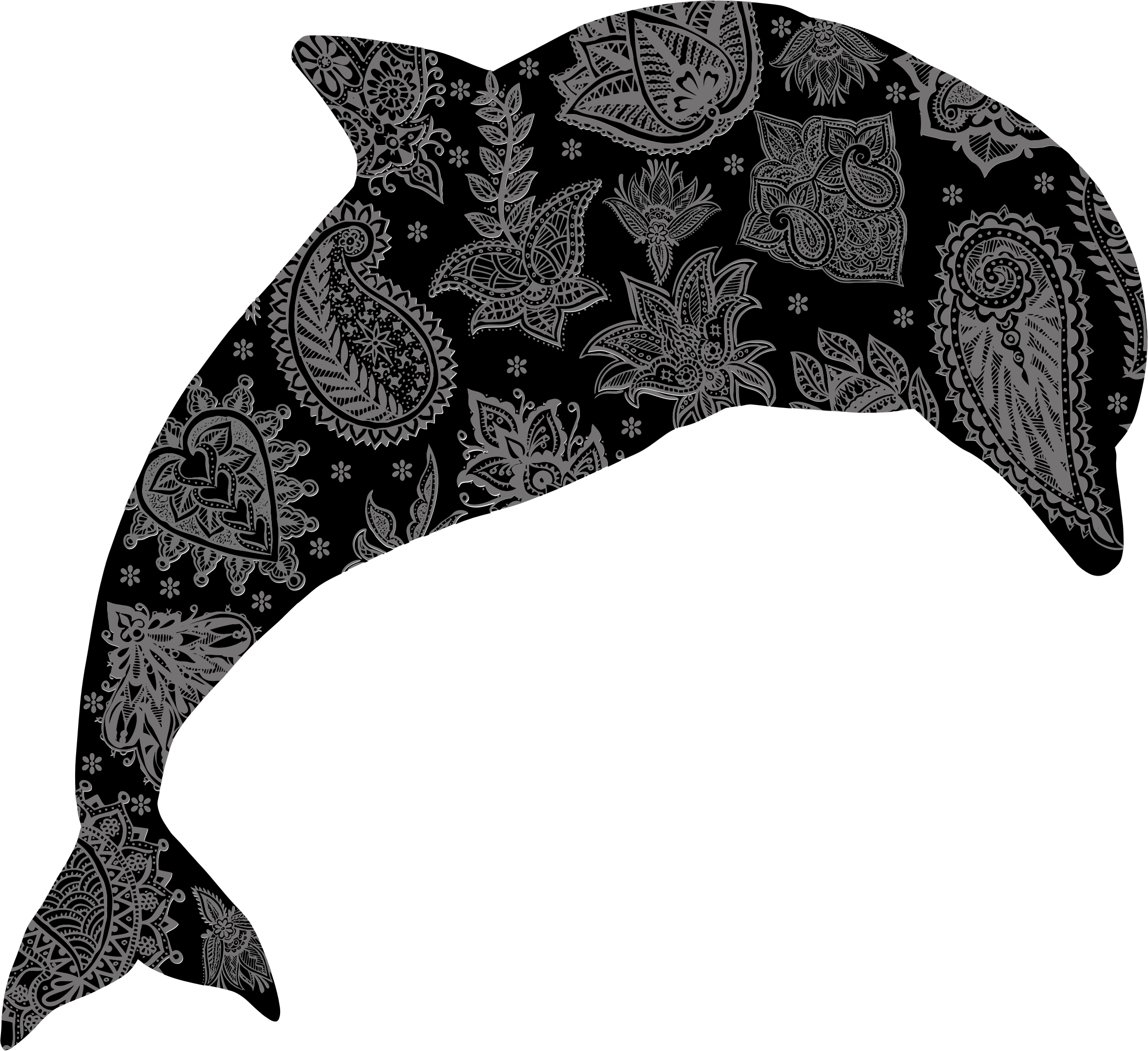 Floral pattern big image. Dolphin clipart flower