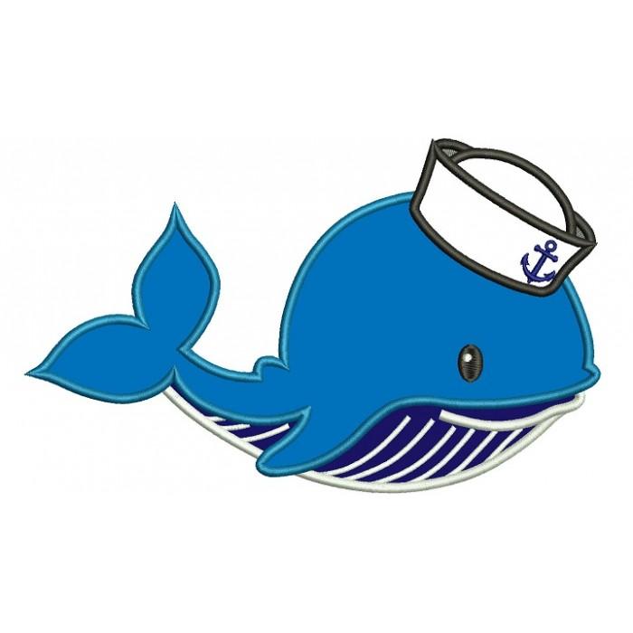 Clipart whale sailor. Marine applique machine embroidery